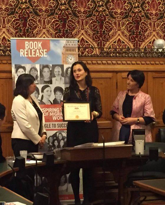 Award at Houses of Parliament London Lidija M Rosati